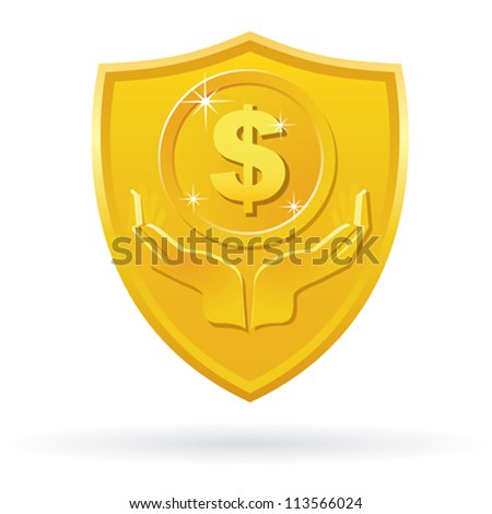 Gold Safety Care money label icon - stock vector