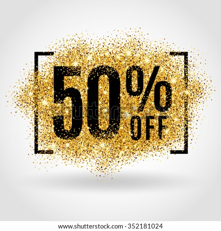 Gold sale 50 percent. Gold sale 50% percent on gold background. Gold sale background for flyer, poster, shopping, for sale sign, discount, marketing, selling, banner, web, header. Gold blur background - stock vector