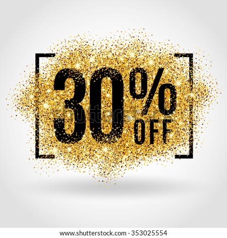 Gold sale 30% percent on gold background. Gold sale background for flyer, poster, shopping, for sale sign, discount, marketing, selling, banner, web, header. Gold blur background - stock vector