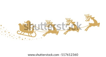 gold santa sleigh silhouette stars white background