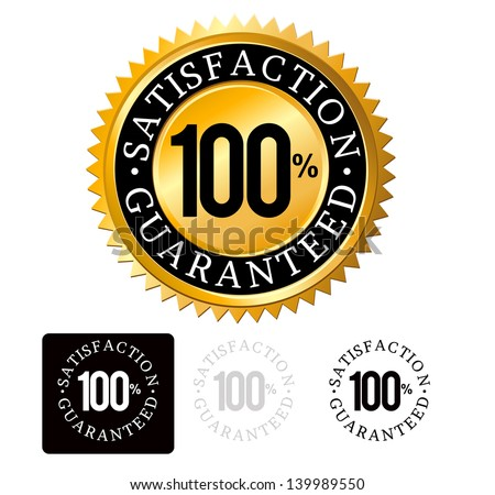 Gold Satisfaction Guaranteed Seals set vector