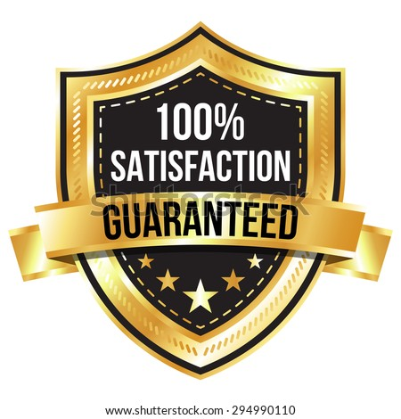 Gold 100% Satisfaction Guaranteed Shield and Ribbon - stock vector