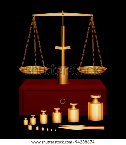 Gold scales with set of weights and tweezers on black background vector