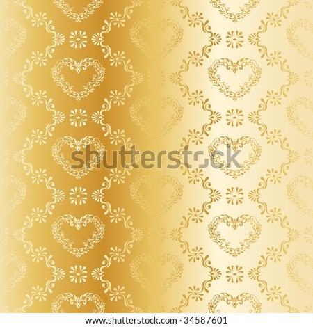 Gold seamless damask pattern with hearts (vector); a JPG version is also available - stock vector