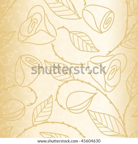 Gold seamless hand drawn pattern with roses (EPS10); a JPG version is also available