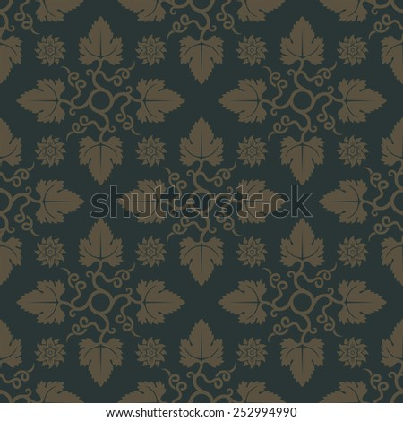 Gold seamless pattern on dark green background with floral elements. Design for wallpaper and fabric. Editable vector file. - stock vector
