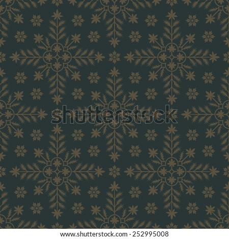 Gold seamless pattern with floral elements. Background for wallpaper and tissue. Editable vector file. - stock vector