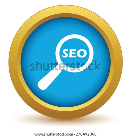 Gold seo search icon on a white background. Vector illustration - stock vector