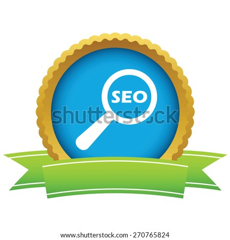 Gold seo search logo on a white background. Vector illustration - stock vector