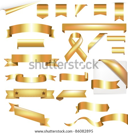 Gold Set, Isolated On White Background, Vector Illustration - stock vector