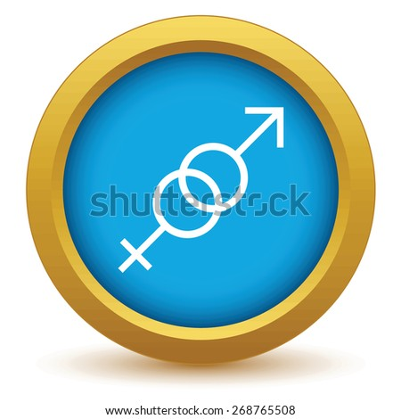 Gold sex icon on a white background. Vector illustration - stock vector