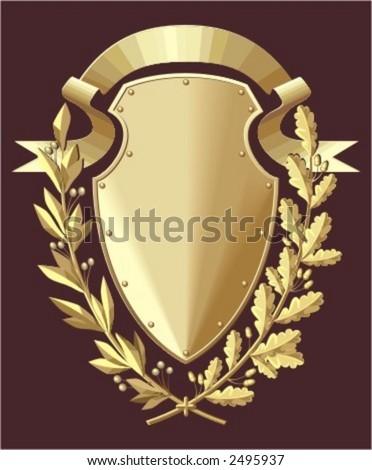 Gold shield, ribbon, oak & laurel branches - stock vector