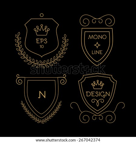 Gold shields badge set in line style. Vector illustration - stock vector