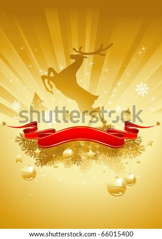 gold shining christmas card with reindeer and red banner - stock vector