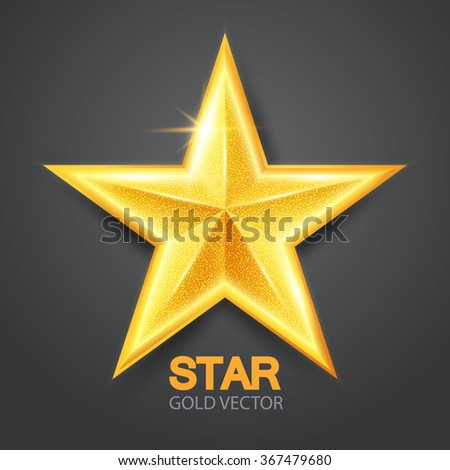 Gold Shining Star. Achieve & Win Design. Vector illustration - stock vector