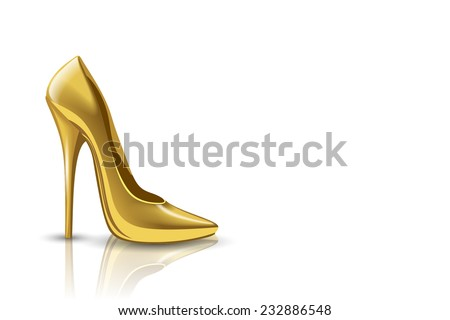 Gold shoes on a white background, vector illustration - stock vector