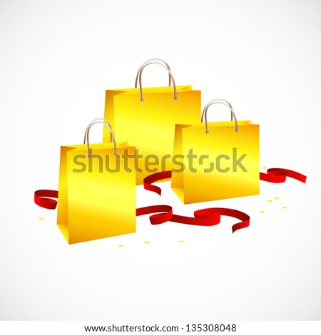 gold shopping bag , ribbon red and stars