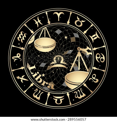 Gold sign of the zodiac on black background, vector illustration