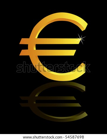 Gold sign on euro on a black background