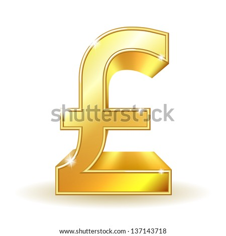 Gold sign pound currency. Vector illustration EPS10. - stock vector