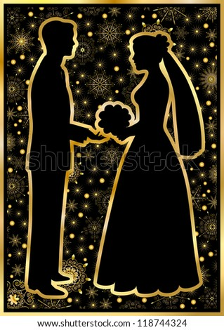 Gold silhouettes of the bride and groom on a black background - stock vector