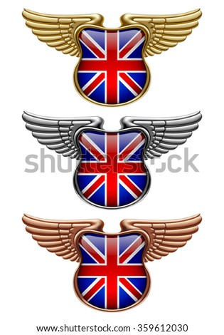 Gold, silver and bronze award signs with wings and Great Britain state flag. Vector illustration - stock vector