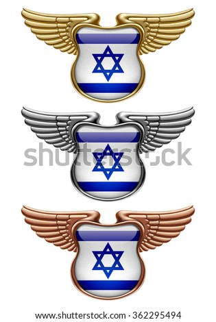 Gold, silver and bronze award signs with wings and Israel state flag. Vector illustration - stock vector