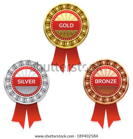 Gold, silver and bronze awards. Vector. eps 10 - stock vector