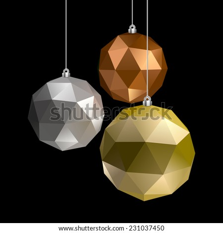 Gold, silver and bronze Christmas balls. - stock vector
