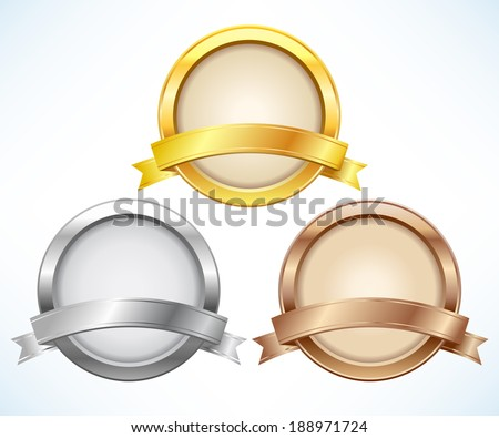 Gold, silver and bronze labels with ribbon - stock vector