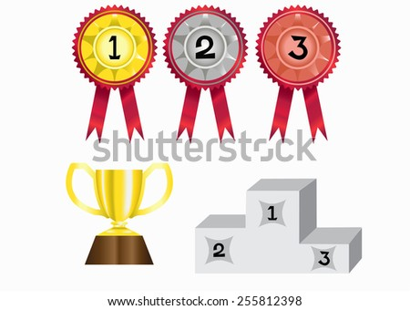 gold silver and bronze medal badges, a cup trophy, a podium - stock vector