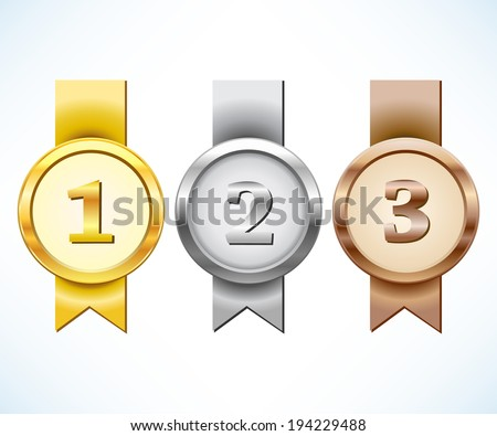 Gold, silver and bronze medal with ribbon - stock vector