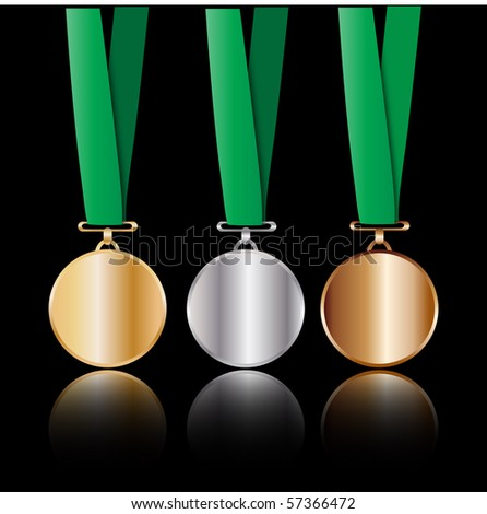 Gold, Silver, and Bronze medals - stock vector
