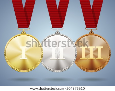 Gold  silver and bronze medals on ribbons with shiny metallic surfaces and Roman numerals for one  two and three for a win and placement in a sporting competition  contest or business challenge - stock vector