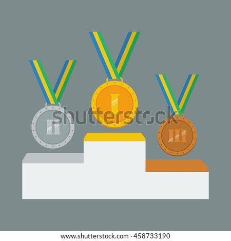 Gold, silver and bronze medals on white pedestal. Vector illustration