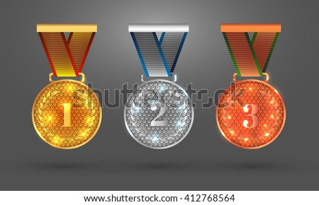 Gold, Silver and Bronze medals. Set with medal icons for first, second and third places. Vector illustration. EPS 10 - stock vector