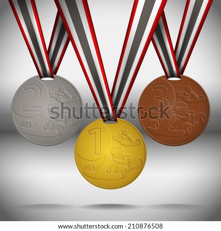 Gold, silver and bronze medals with ribbon. - stock vector