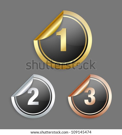 Gold silver and bronze metallic stickers isolated on grey background - stock vector