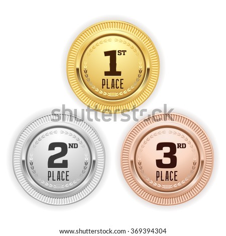 Gold, silver and bronze place medaille on white background - stock vector