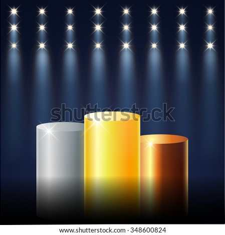 Gold, Silver and Bronze prize podium. First place award. Vector illustration for your design - stock vector