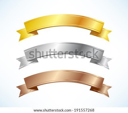 Gold, silver and bronze ribbons set - stock vector