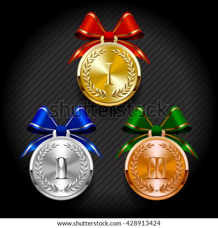 Gold, silver and bronze round medals with laurel wreaths. Vector illustration - stock vector