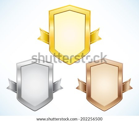 Gold, silver and bronze shield with ribbon - stock vector