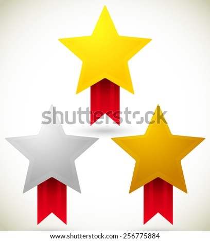 Gold, Silver and Bronze Star Prizes, Awards. - stock vector