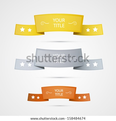 gold, silver and bronze stickers, labels, ribbons - stock vector
