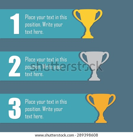 Gold, Silver and Bronze Trophy Cup. First place award. Champions or winners cups icons. Sport Infographic elements with space for text. Vector illustration. - stock vector