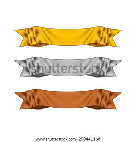Gold, Silver and Bronze Vector Shaded Ribbons in Comic Style for your Design Project. - stock vector