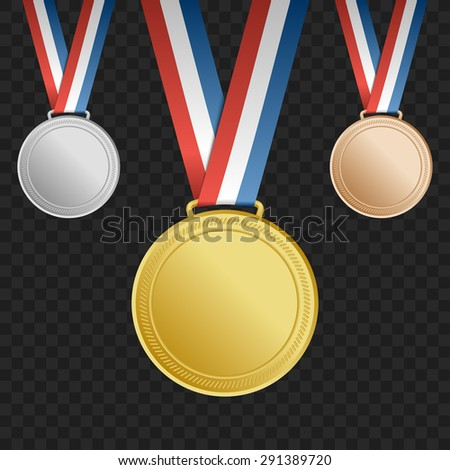 Gold, silver, bronze award medals with ribbons on square background