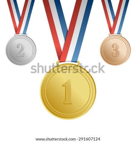 Gold, silver, bronze award medals with ribbons with numbers - stock vector