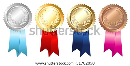 Gold Silver Bronze Emblems, Isolated On White - stock vector